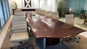 Nucraft Vertex Wave Conference Room Table Cordovan Cherry 25 Feet Length