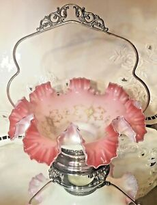 Antique Britannia Cranberry Pink Glass Bride S Brides Basket Bowl Fluted