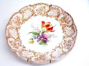 Sevres Plate Gilt Floral Scalloped Rim With Beads Unique 11 Diameter F Ship