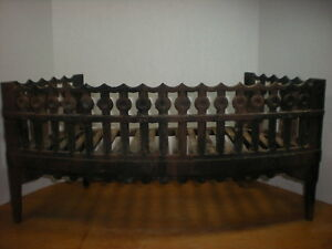 Antique Victorian Fire Box Fireplace Grate Cast Iron Log And Coal Grille