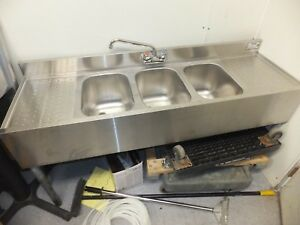 Krowne 3 Compartment Underbar Sink With Dual Sideboards 18 53c Used Pick Up