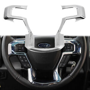 Fit Ford F150 Steering Wheel Moulding Chrome Cover Trims Accessories 2015 2018