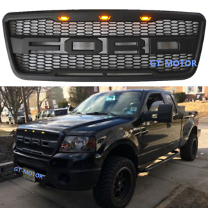 Black 2004 2008 Ford F 150 F150 Raptor Style Conversion Grill Grille W F R 3 Led