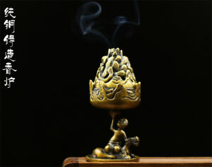 Chinese Antique Brass Statue Buddha Auspicious Beast Mountain Incense Burner