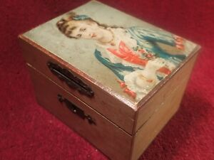 Dated 1909 Antique Handmade Wooden Box Coin Bank W Lock No Key Nice