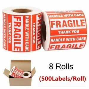 4000 Fragile Stickers 2x3 Handle With Care Thank You Red Warning Labels 8 Rolls