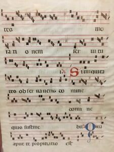 18th Cent Italy Illuminated Gregorian Antiphonal Chant Leaf Music Parchment