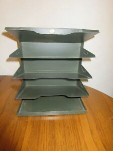 Curmanco Metal Desk In out Box 5 Tier File Holder Tray Vtg Office Industrial Usa