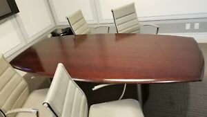 Nucraft Vertex 8 Foot Boat Top Conference Table Cordovan Cherry
