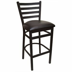 New Gladiator Ladder Back Restaurant Bar Stool With Black Vinyl Seat