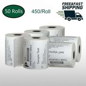 50 Rolls 450 roll Direct Thermal Shipping Labels 4x6 Zebra 2844 Zp 450 Zp 500