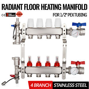 4 branch Radiant Floor Heating Stainless Steel Tested Corrosion Manifold Set