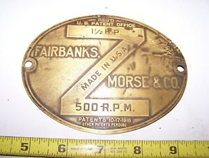 Original Fairbanks Morse Headless Z Hit Miss Engine Brass Serial Name Tag Wow