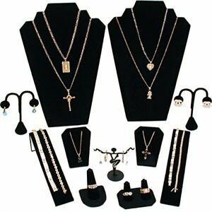 11 Pc Set Black Velvet Jewelry Displays Busts Bonus New
