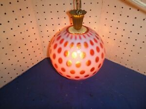 Vintage 60s Ceiling Light Fixture Mid Century Retro Red White