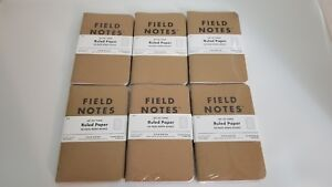 New Sealed Field Notes Notebooks Writing Pads Kraft 6 Ruled 3 packs