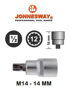 Jonnesway S64h4114 Triple Square Socket Bit M14 14 Mm 1 2 Dr 12 Point L 55 Mm