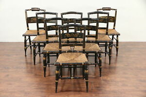 Set Of 8 Antique Hitchcock Stencil Hand Painted Rush Seat Dining Chairs 29784