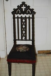 J W Meeks Antique Hand Carved Parlor Chair Gothic Revival Must See Circa 1800 S