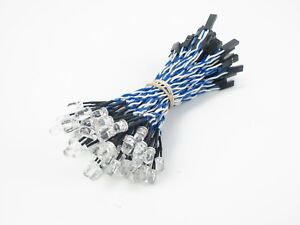 Lot Of 75 8mm Led Light Emitting Diodes With 10cm Cables 2 pin Connector