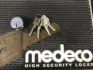 Keymark By Medeco Satin Chrome Mortise Cylinder 1 1 4 W 8 Keys Free Shipping