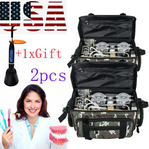 2xportable Dental Dentist Turbine Unit Air Compressor Suction Syringe Bag gift