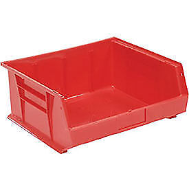 Red Plastic Stacking Bin 16 1 2 X 14 3 4 X 7 Lot Of 6