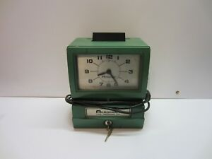 Acroprint Industrial Shop Time Card Clock Recorder Auto Punch With Key
