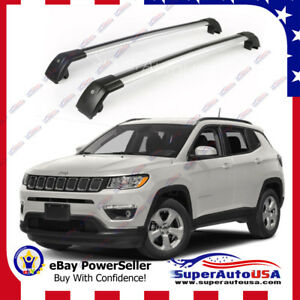 Top Roof Rack Fit 2017 19 Jeep Compass Silver Baggage Luggage Cross Bar Crossbar