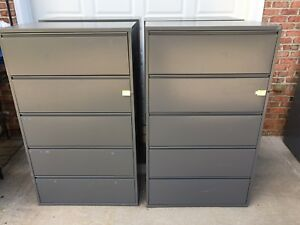 Herman Miller Lateral File Cabinets 5 drawer W top Flip Up