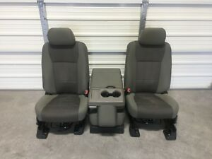 2017 2018 Ford F250 F350 F450 Super Duty Front Seats Console Oem Gray Cloth
