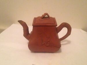 Vintage Chinese Zisha Clay Teapot With Enamel Relief Of Plum Pine And Baboo