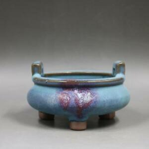 Chinese Old Jun Kiln Blue Glaze Red Spot Trifoot Porcelain Incense Burner