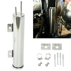 Polished Stainless Steel 14 Oz 2 X 10 Radiator Over Flow Puke Tank Catch Can