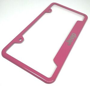 Pink License Plate Frame For Jeep premium Laser Etched Letters Emblem