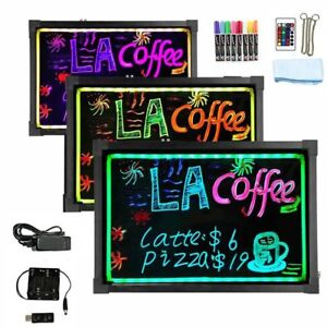 Flashing Illuminated Erasable Led Neon Sign Message Menu Writing Board Remote