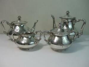 Antique Barbour Silver Co Quadruple Pat 2420 Silver Plate Coffee Tea 5pc Set