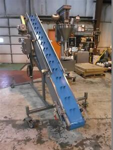 10 X 126 Stainless Steel Sanitary Inclined Cleated Blue Belt Conveyor