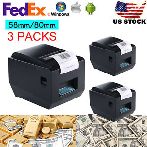 3x Usb Pos Receipt Thermal Printer 80mm paper Roll High speed Printing 300mm s