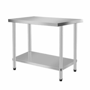 Rolling Stainless Steel Top Kitchen Work Table Cart Shelving 30 x24 New Vn