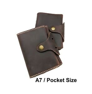 A7 Pocket Size 6 Ring Planner Genuine Cowhide Leather Brown Journal Men Style
