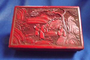Fine Antique Chinese Carved Figure Landscape Red Lacquer Cinnabar Box 7 41 2