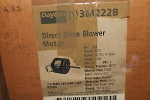 Dayton Direct Drive Motor 3 4hp 230v 1075rpm 4 spd 48yz Frame 3m222b