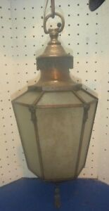 Antique Brass Lead Pendant Ceiling Light Bank Milk Glass Old Vintage