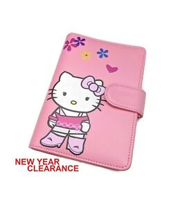 A6 Size Personal Planner 6 Ring Agenda Pink Faux Leather Medium Size Hello Kitty
