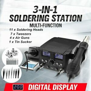 3 In1 Lcd Solder Station Soldering Iron Desoldering Rework Hot Air Heater Kit Bt
