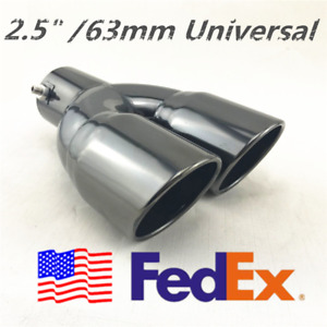 Usa Black Anodized Stainless Steel Dual Exhaust Tip Muffler Tail Pipe 2 5 Inlet