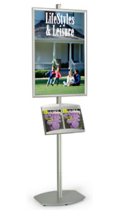 Single Pocket Aluminum 22 X 28 Poster Literature Display Stand Snap Open Frame