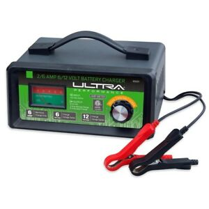 Battery Charger Manual 2 6 Amp 6 12 volt Trickle Heavy duty Clamps Home Rv Atv