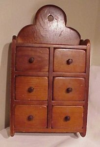 Primitive Antique 6 Drawer Wooden Spice Apothecary Cabinet Pantry